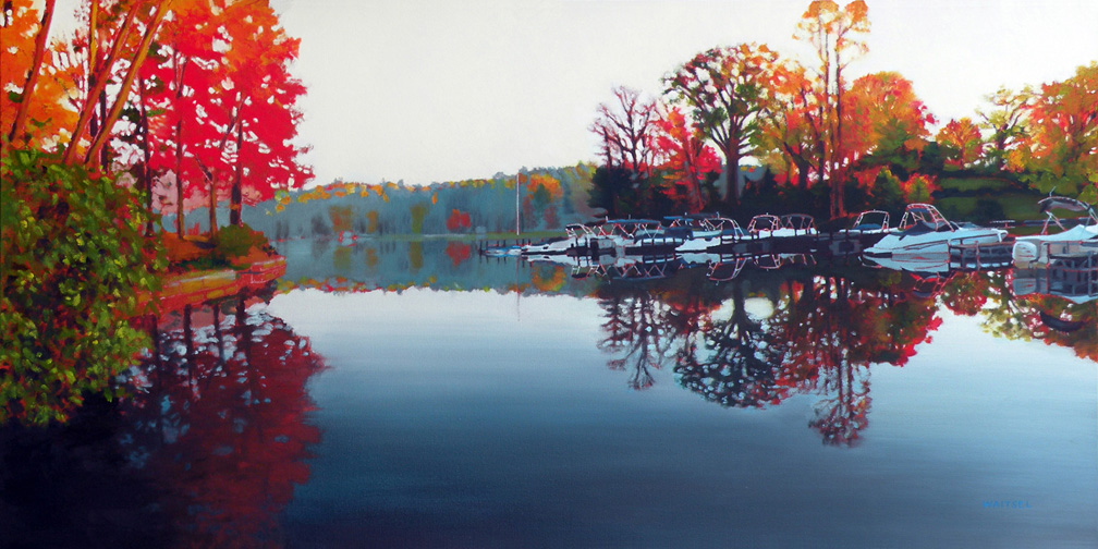 Autumn Lake - Original Oil Painting by Waitsel Smith