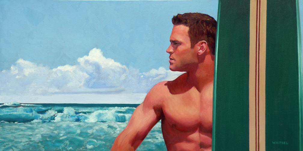 Surfer Dude - Original Oil Painting by Waitsel Smith