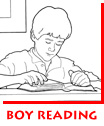Waitsel Ink Children's Illustration Coloring Page Boy Reading