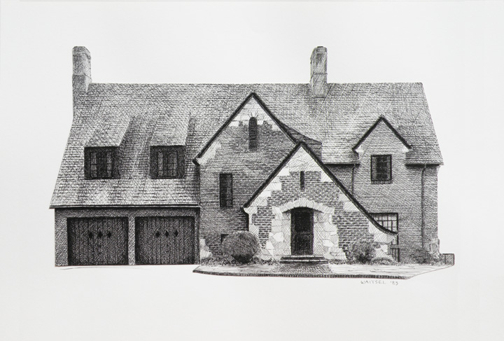 Mullis House - Pen & Ink Hatch Drawing by Waitsel Smith