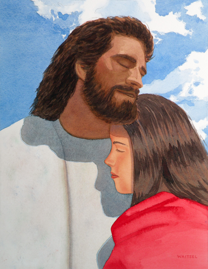 Waitsel's Watercolor Painting - Jesus with Woman